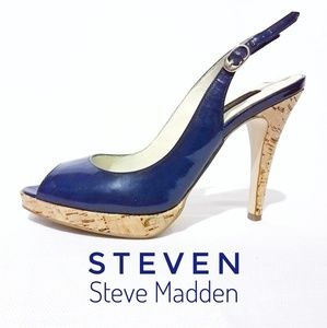 STENEN Navy Blue Patent Leather Cork Heels Madden